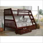 DONCO 123-3CP Full Over Full Mission Bunk Bed in Dark Cappuccino