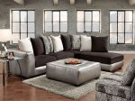 Shimmer Pewter Microfiber Sectional Black Sofa And Ottoman- Made