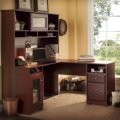 "Bush Cabot 60"" L Shape Computer Desk with Hutch in Harvest Cherr"