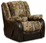 Real Tree/Bicast Brown Chaise Rocker Recliner