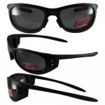 Tyler Black Frame Smoke Lenses Riding Glasses ANSI Z87.1, Shatte