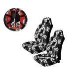 Charcoal Hibiscus 5-piece Highback Seat Covers / Steering Wheel
