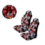 Red Hibiscus 5-piece Highback Seat Covers / Steering Wheel Cover