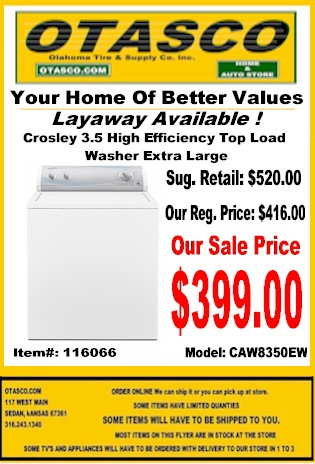 Crosley Top Load Washer Sale Flyer